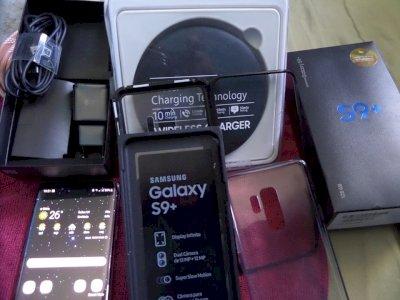 Samsung Galaxy S9 Plus ultra violeta completo com Samsung Gear Vr + base de carregamento superapido + capa anti choque e case transparente