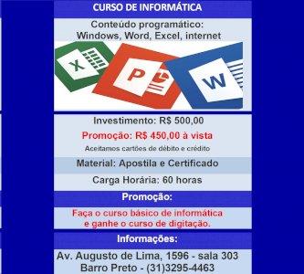 CURSO DE INFORMÁTICA - WINDOWS, WORD, EXCEL, INTERNET + DIGITAÇÃO