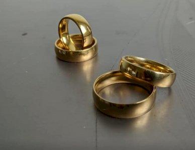Aliança banhada a ouro dois pares 6 mm  Abauladas